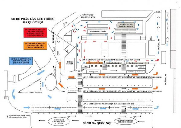 Sơ đồ phân làn lưu thông ga quốc nội Cảng hàng không quốc tế Tân Sơn Nhất. Ảnh: ACV